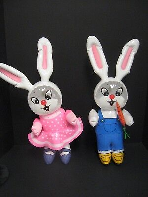 Vintage Inflatable Blow Up Easter Bunny Lot Of 2 Girl Boy Easter Bunny