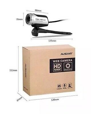Ausdom HD 1080P USB Webcam, PC Computer Web Cam Mini Camera -BNIB
