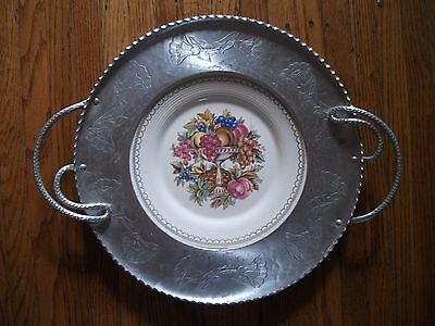 1950s Hand Wrought Aluminum Farberware Tray w Limoges Imperial Victorian Plate