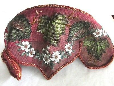 Victorian Beaded Needlepoint Shelf with Pelmet - Antique Tapestry Red w/Flowes
