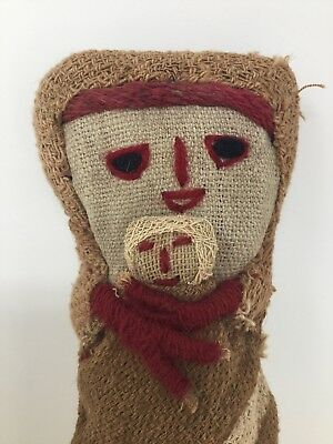 Antique Doll Pre Columbian Textiles Straw Mother & Baby Folk Art