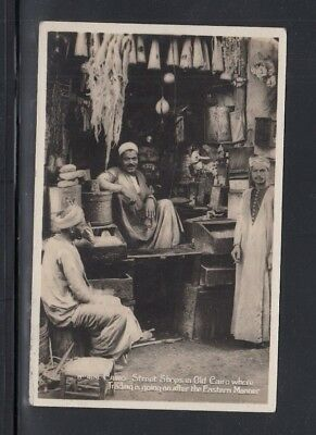 Real Photo Postcard Street Shops Old Cairo Egypt