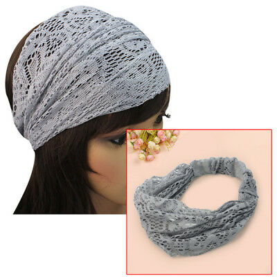 Baby Girl Toddler Light Grey Hair Ribbon Headwear Lace Flower Headband Headdress
