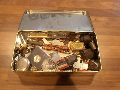 Job Lot of Old Coins and curios in an old tin