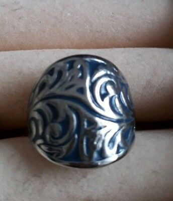 Medieval Silver And Blue Enamel Filigree Style Ring Size Med Halloween