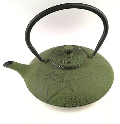 VINTAGE Cast Iron Japanese Tea Pot Kettle Green bamboo design squat wire basket