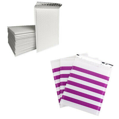 ANY SIZE/PACK purple strip poly bubble mailer self seal padded shipping envelops