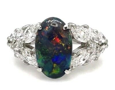 GIA Black Opal and Marquise Diamond Ring 4.25 cttw in Platinum - HM1986BB