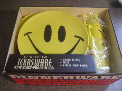 NEW Texas Ware 12 Piece Yellow SMILEY FACE Melamine Plates Bowls Mugs Cups BOX