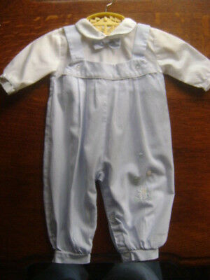 VINTAGE PETIT AMI Boys Baby One Piece Overall Embroidery Blue Stripe Bow Tie 6M