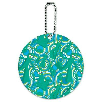 Psychadelic Gumby Pattern Round Luggage ID Tag Card Suitcase Carry-On