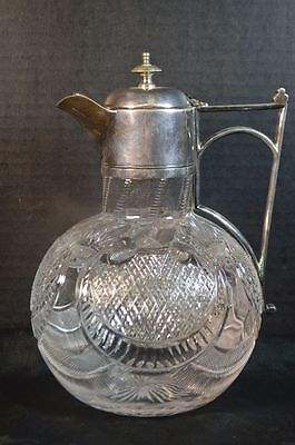 Antique English Silverplate and Cut Crystal Pitcher