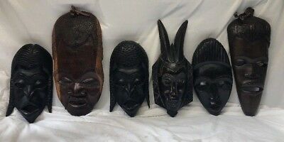 """Lot of 6 VINTAGE HAND CARVED AFRICAN WOOD WALL MASK Art 14"""""""