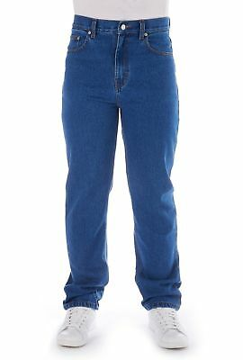 New Mens Straight Leg Work Basic Plain Denim Jeans Pants All Waist & Sizes