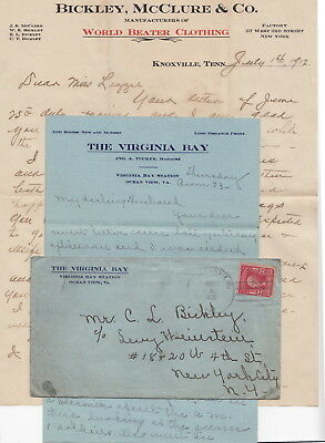 Bickley Family, Knoxville Tennessee Clothing Letterhead & 1908 Letter