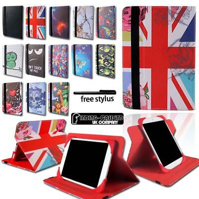 Universal Folio Leather & Silicone Rotating Stand Cover Case For Various Tablets