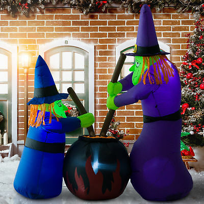 1.8m Tall Inflatable Halloween Decoration Witches Cauldron Light Airblown