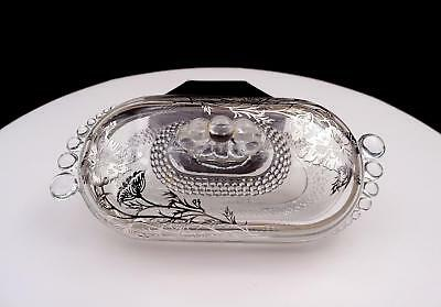 """Silver City Glass Flanders Sterling Overlay Teardrop 8 1/2"""" Covered Butter Dish"""