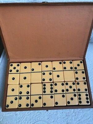 Vintage Set of Bakelite Dominoes Domino Set in Original Box 28 pcs