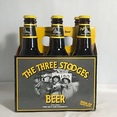 Collectible Three Stooges Long Neck Beer Bottles 6 Pack W Original Carrier Case