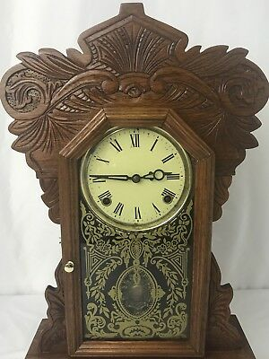 Antique Kitchen Mantle 8-Day Shelf Clock Carved Oak Gingerbread Reverse Painted