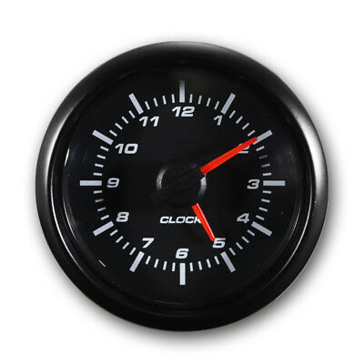 Clock 52 mm Automobile Gauge Black Face Black Stainless Steel Rim Waterproof
