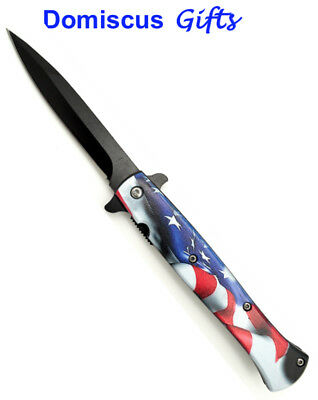 "9"" NEW! Falcon TACTICAL Spring Assist U.S. American PATRIOT Flag POCKET KNIFE"
