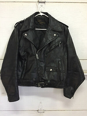***RARE 1960's LEATHER JACKET VINTAGE MOTORCYCLE MONTGOMERY WARD 40 REG***