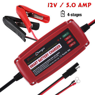 12V 5A Smart Battery Charger Maintainer for Car Motorcycle Truck RV AGM GEL WET