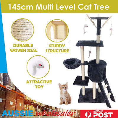Pet Cat Scratching Tree Post Sisal Pole Condo Toy Furniture Multi level 145cm
