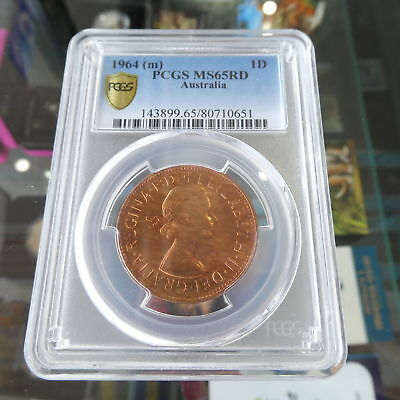 1964-M Australia 1d One Penny Coin PCGS Slabbed and Graded MS65RD