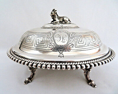 Reed & Barton Silver Plated Covered Butter Dish w/ Figural Goat Finial ~ Mono TL