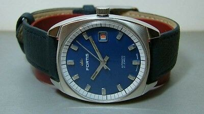 Vintage Fortis Automatic Date Swiss Mens Wrist Watch Old Used Antique S386 Blue
