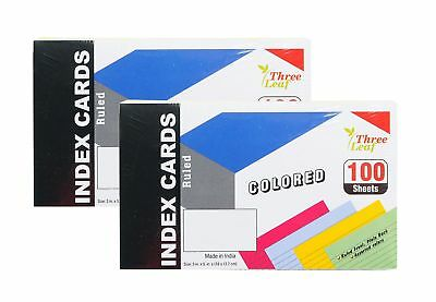 2-Pack Colored Index Cards, 3x5-Inch, Ruled, Canary-Cherry-Green-Blue, 25... New