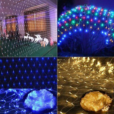 LED String Fairy Lights Net Mesh Curtain Xmas Wedding Party Outdoor Home Lamp UK