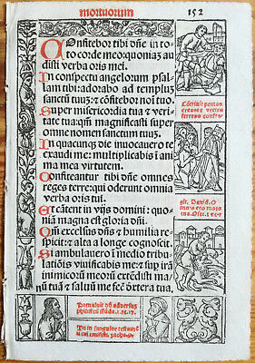 Decorative Leaf Book of Hours Woodcut Border Venice Stagnini (152) - 1518