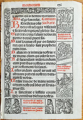 Decorative Leaf Book of Hours Woodcut Border Venice Stagnini (176) - 1518