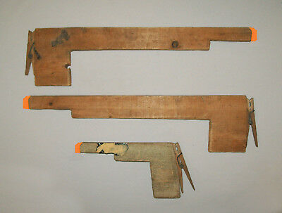 Old Vtg C 1940s Very Nice Group of Three Hand Made Folk Art Wooden Toy Guns