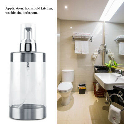 350ml Stainless Steel Foam Soap Lotion Shampoo Dispenser Home Liquid Pump Bottle
