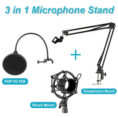 Microphone Suspension Boom Scissor Arm Stand with Pop Filter Shock Mount