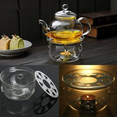 "... Stainless Steel Infuser Flower Tea Pot. "" PicClick Exclusive · Teapot Warmer Clear Glass Heat Resisting Round Insulation Base Candle Holder"