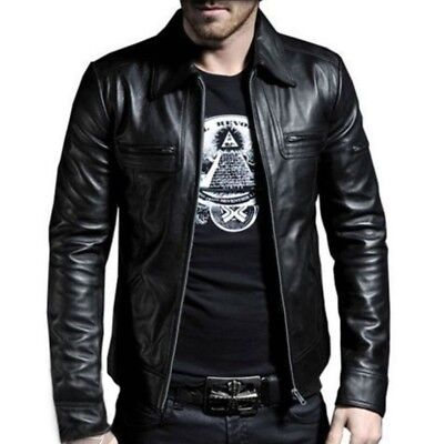Mens Black & Brown Real Leather Jacket Vintage Slim Fit Retro Genuine New Xs-4Xl