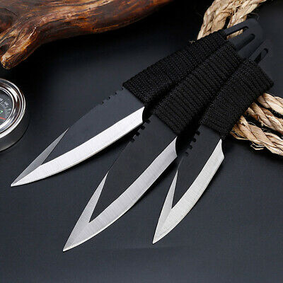3pcs Tactical Pocket Fixed Straight Blade Knife Hunting Camping Sheath Survival