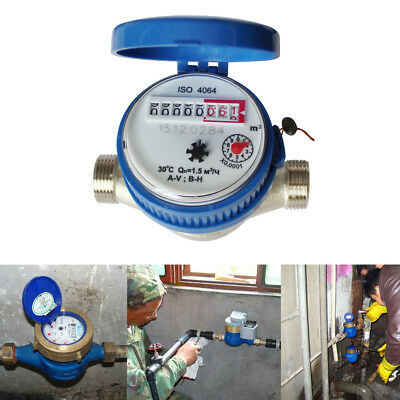 """15mm 1/2"""" Cold Water Meter Measuring 1.5m3/h 16 bar for Home Garden Fittings UK"""