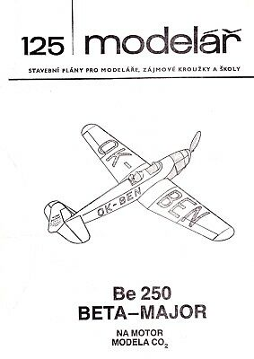 Bauplan, Mini Scale 'Be-250 Beta Major' Co2 gas Flying Model Construction Plan