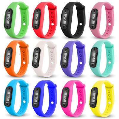 Distance Steps Counter Wristband Pedometer Watch for Running Jogging Walking AQ
