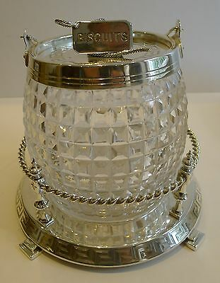 Superb Antique English Silver Plate & Cut Crystal Biscuit Box c.1890