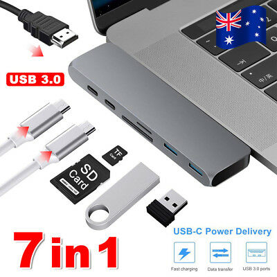 7 in 1 USB-C Type C HD Output 4K HDMI USB 3.0 Adapter HUB For MacBook Pro