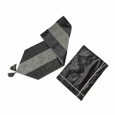 Crushed Velvet Diamante Charcoal Grey Tasselled Table Runner & 12 X Placemat
