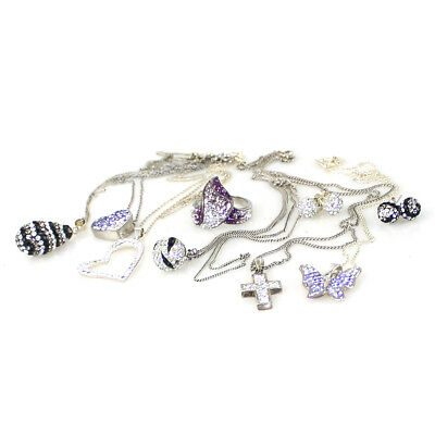 NEAR NEW Sterling Silver Crystal Jewellery Set Ring, Earrings, Necklace, Pendant